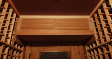 Custom wood louver over evaporator