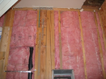 Insulation prior to sheetrock