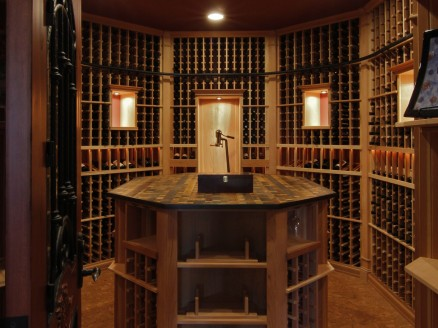 Center island with stemware racking, custom doors and accessory drawers
